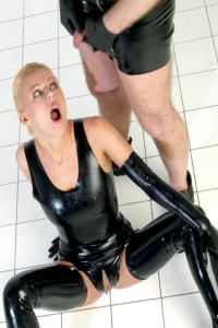 Dirty rubber bitch Nikita in white room